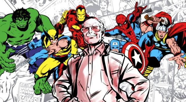 Stan Lee protagonista di un disegno insieme ai suoi supereroi Marvel
