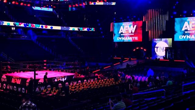 wrestling, un'arena della aew prima che inizi lo show